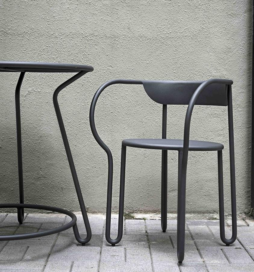 bistro chair in grey aluminium metal for garden and outdoor use