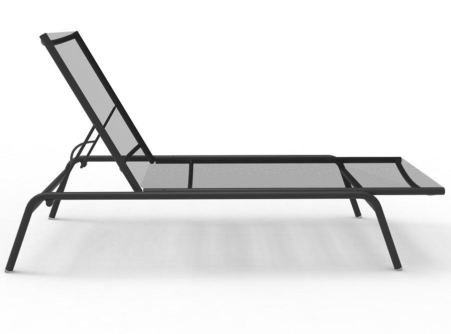 grey modern garden sun lounger in aluminium and sling fabric