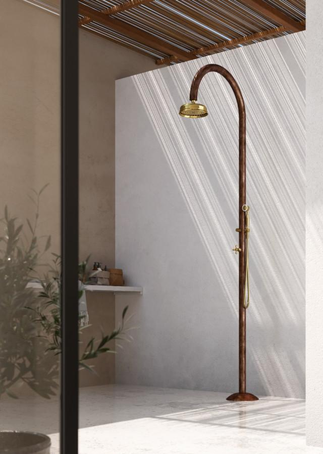 copper outdoor shower in antique copper and brass bathroom view