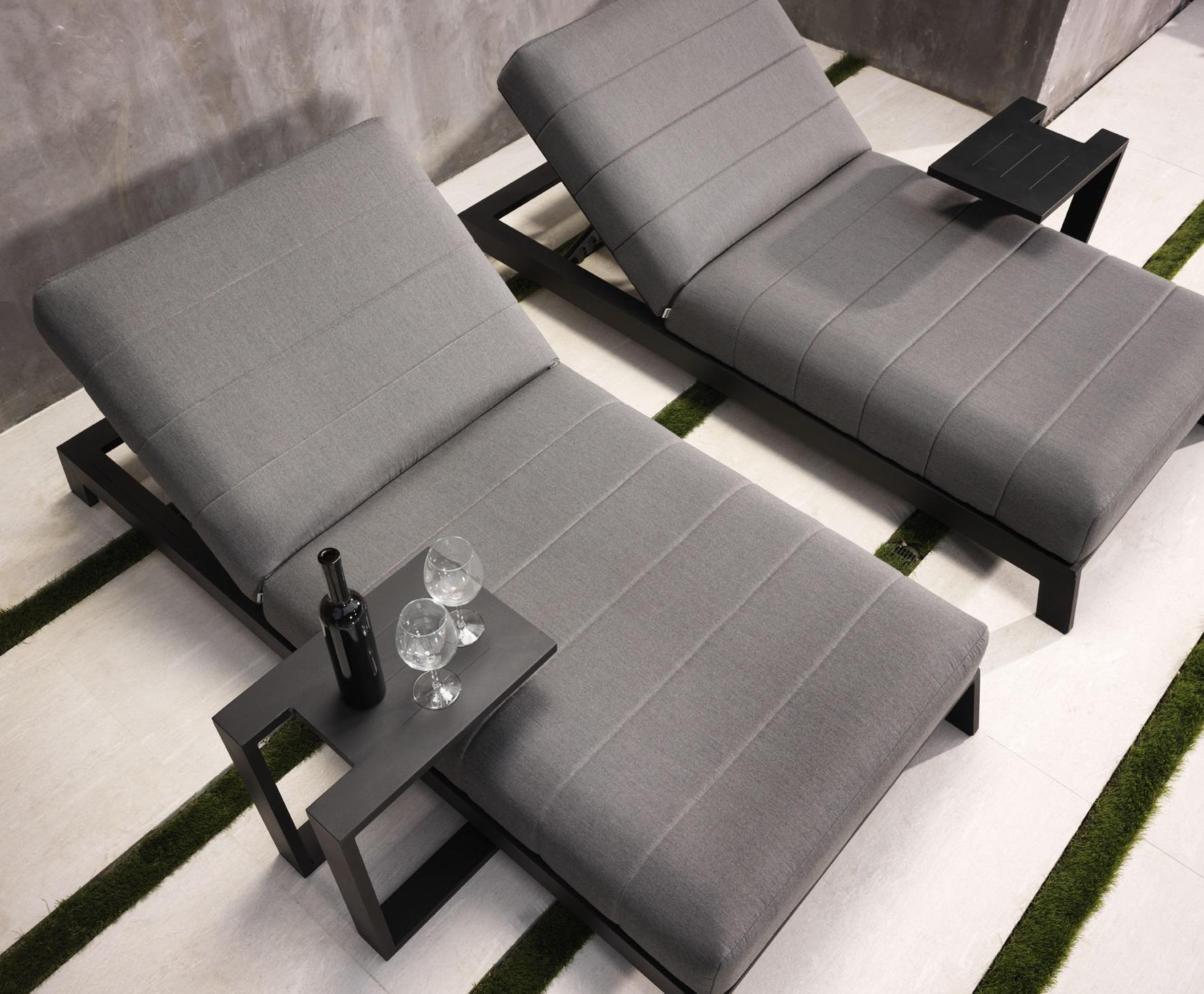 grey sun lounger weatherproof fabric and aluminium frame grey
