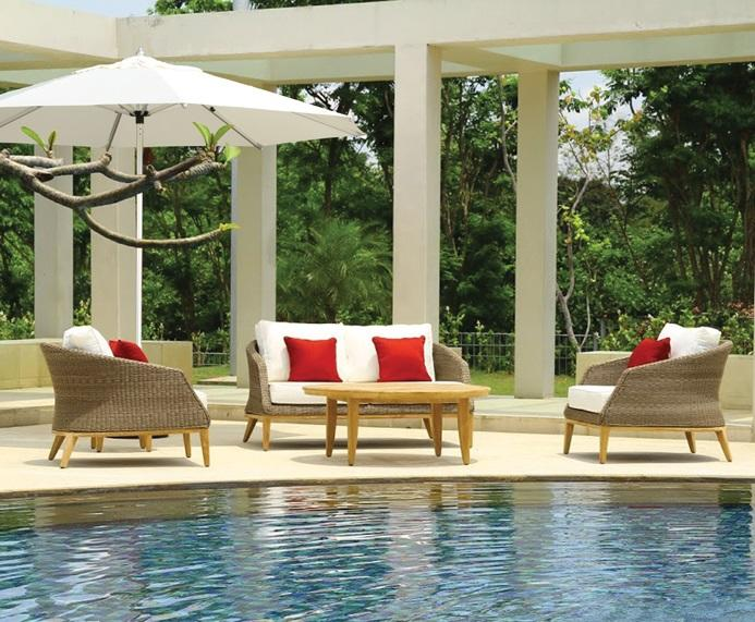 rattan garden lounge furniture in sand with armchairs and sofas