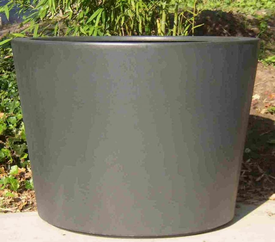 fibrgelass garden planter in matt grey tapered cylinder