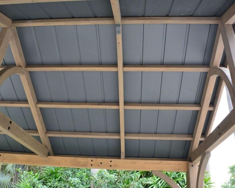 roof panels on garden gazebo