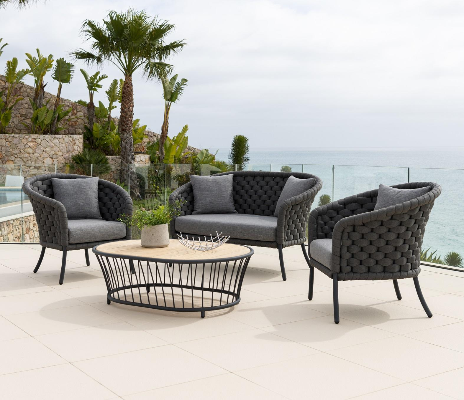 modern rope weave garden lounge sofa and armchairs in charcoal grey