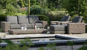 All weather wicker garden lounge set with footstool and coffee table
