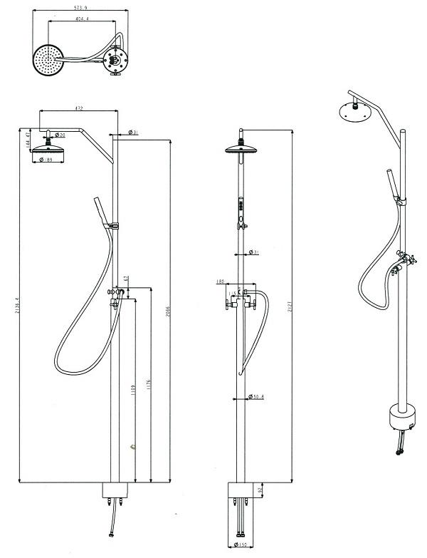 dimensions of garden shower outdoor grade brushed stainless steel double feed shower