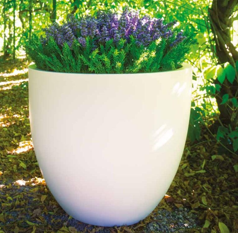 white contemporary fibreglass planter for modern gardens