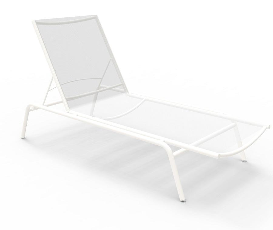 white modern garden sun lounger in aluminium and sling fabric