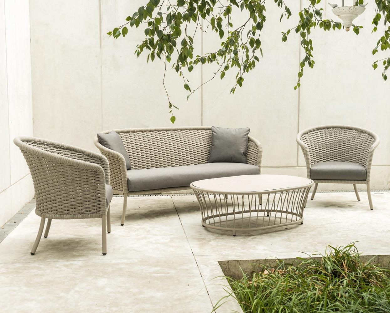 modern rope garden lounge sofa set with armchairs and coffee table