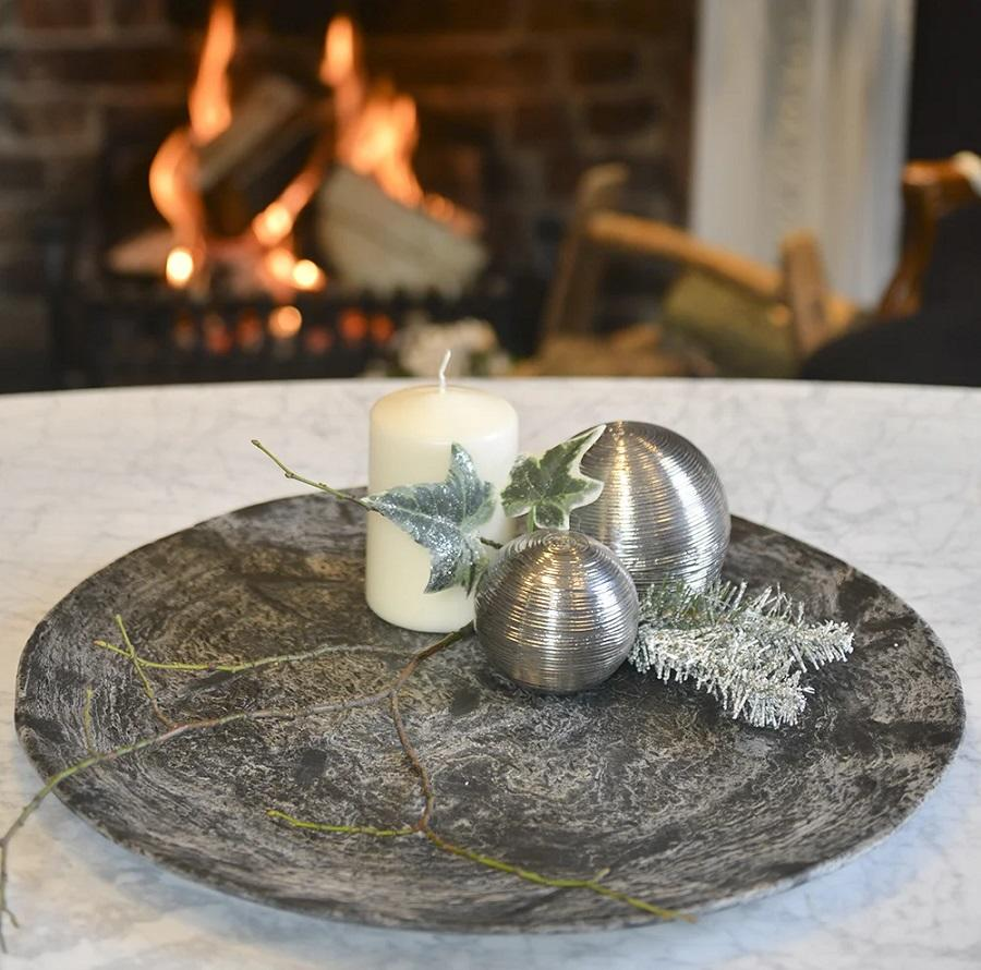 slate decorative dish for christmas baubles and candles