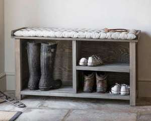 indoor wooden bench seat with shoe and welly boot storage