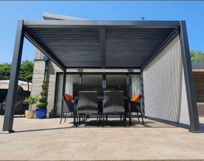 modern grey aluminium garden gazebo with louvre roof