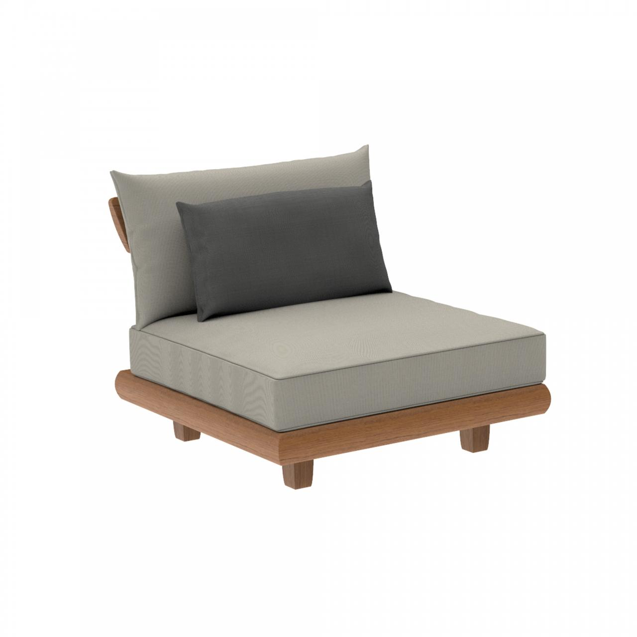 middle modular unit or armchair in teak with all weather cushions