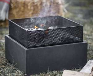 square firepit for outdoor garden heating in fibre clay