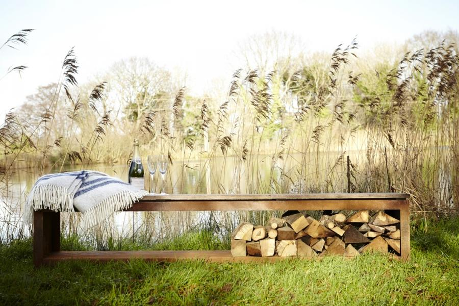log store bench for the garden corten steel with hardwood seat