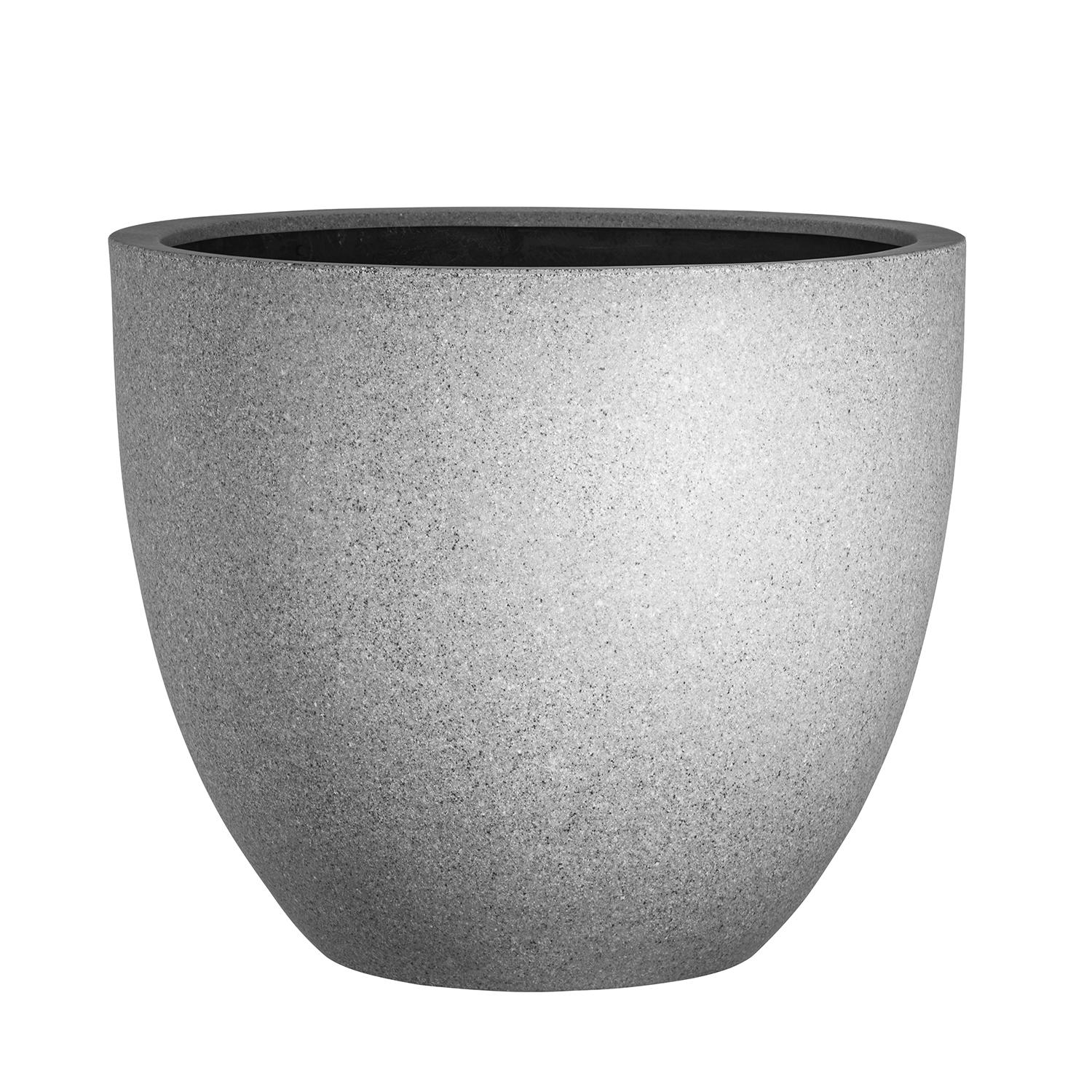 modern fibreglass round garden planter in gloss white