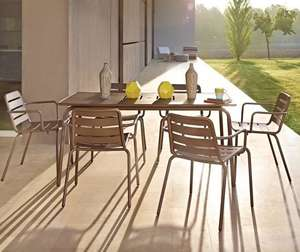 metal garden dining patio furniture carbon grey table and 6 chairs