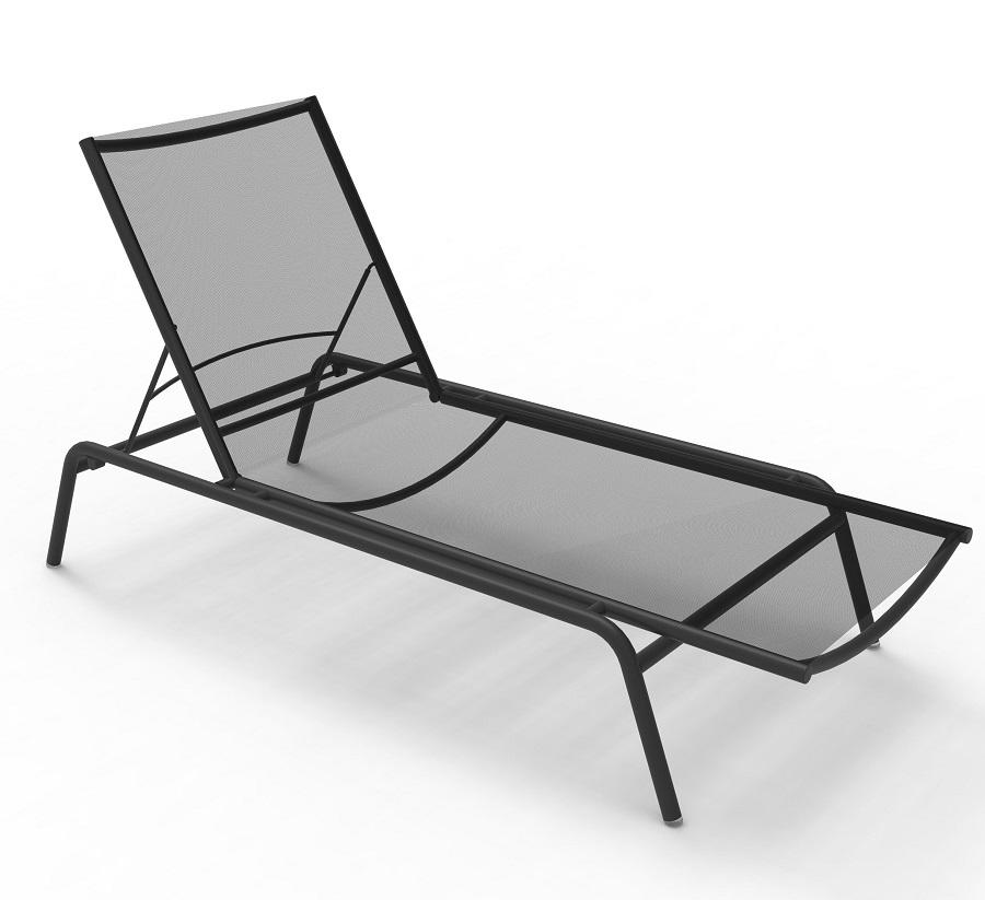 grey modern garden sun lounger in aluminium and grey sling fabric