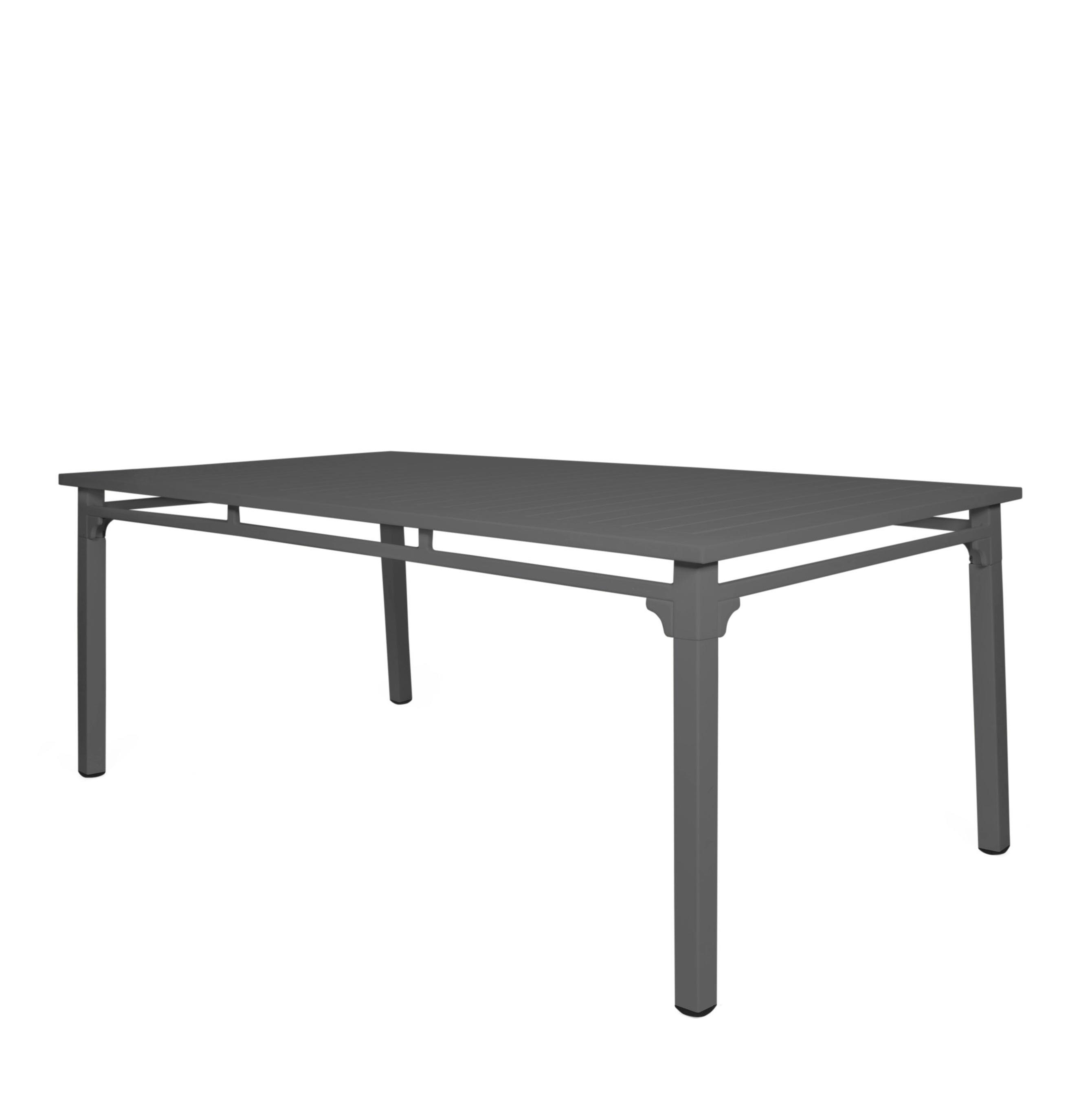 grey aluminium metal rectangle garden dining table