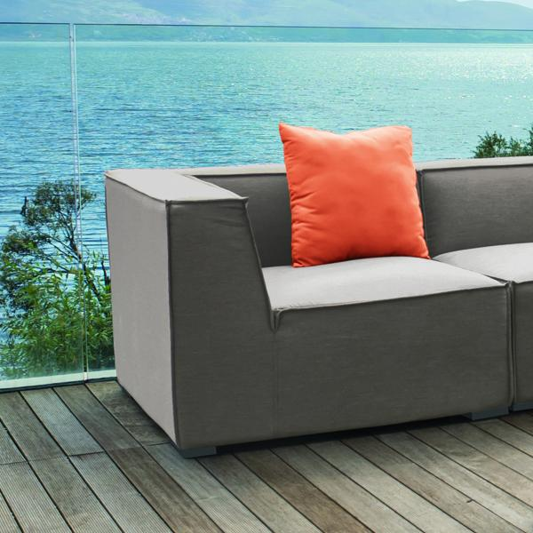 weatherproof fabric garden sofa lounge detail in taupe
