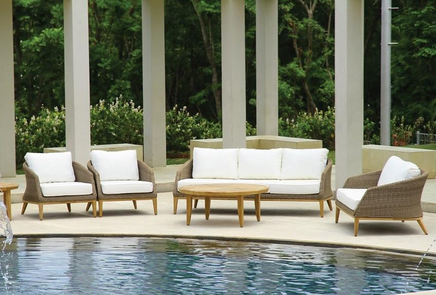 rattan weatherproof wicker garden lounge furniture set in sand