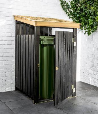 open modern wooden black modern wheelie bin storage