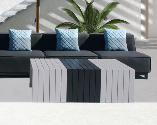 metal modern garden coffee table outdoor and weatherproof in white and grey