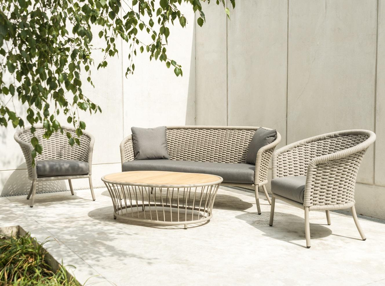 modern rope garden lounge sofa with armchairs and coffee table