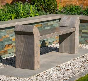 stone bench in garden shark grey natural sandstone with curved arms