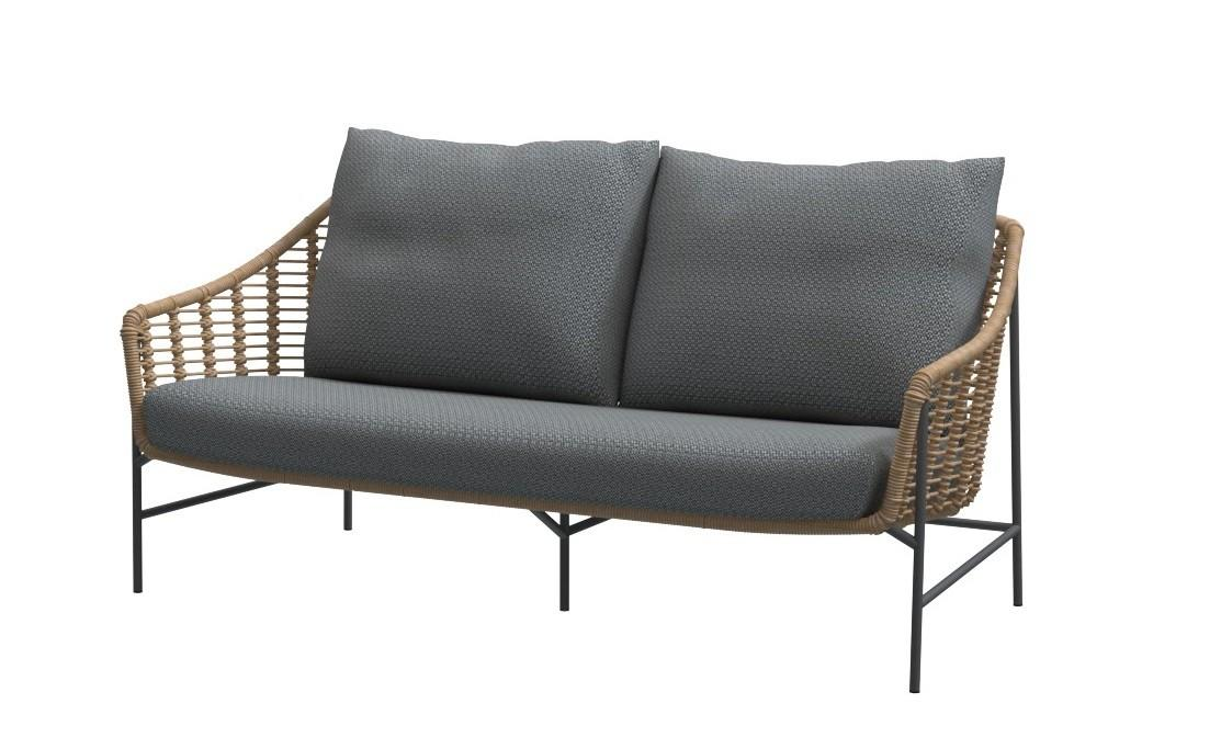 garden sofa in all weather rope weave with grey cushions