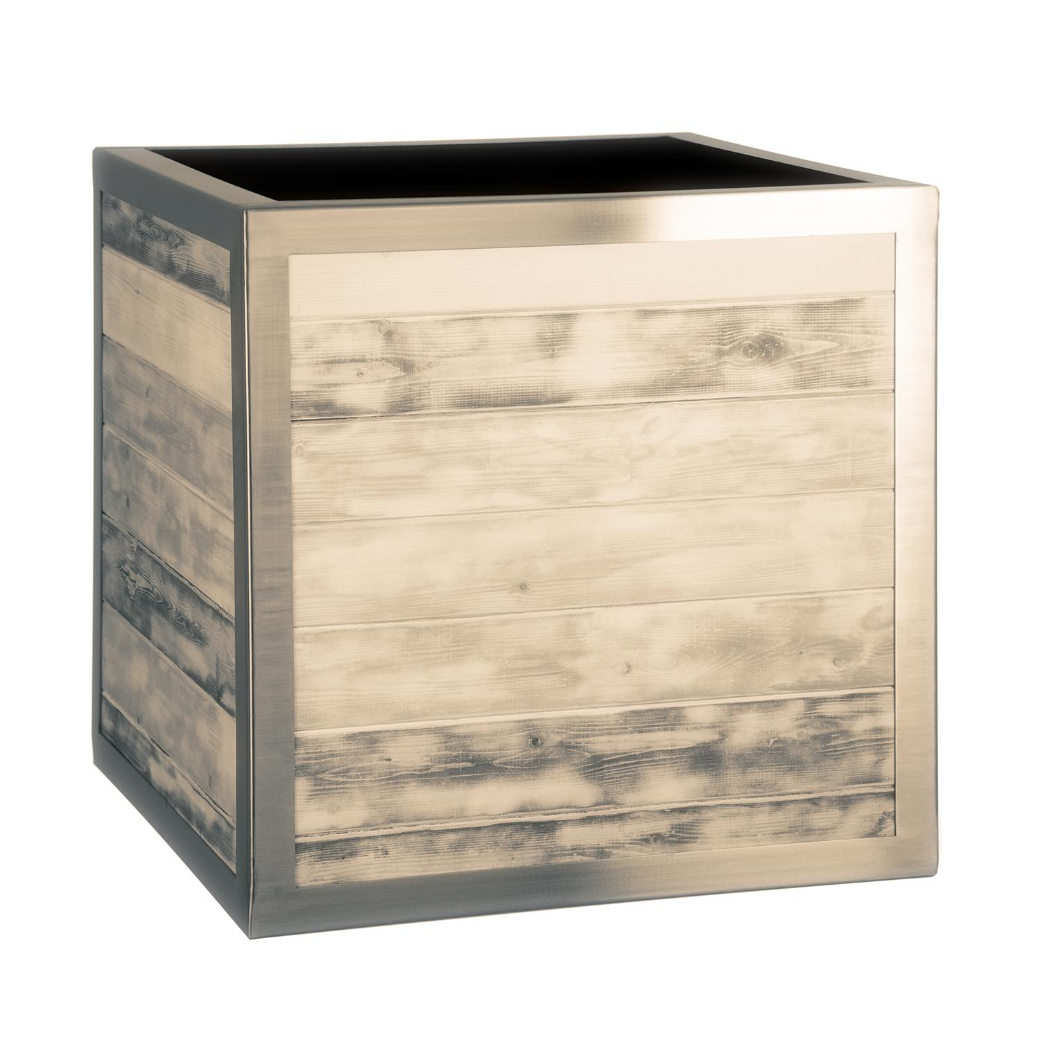 wooden_planter_garden_cube_outdoor_distressed_timber_stainless_steel_frame