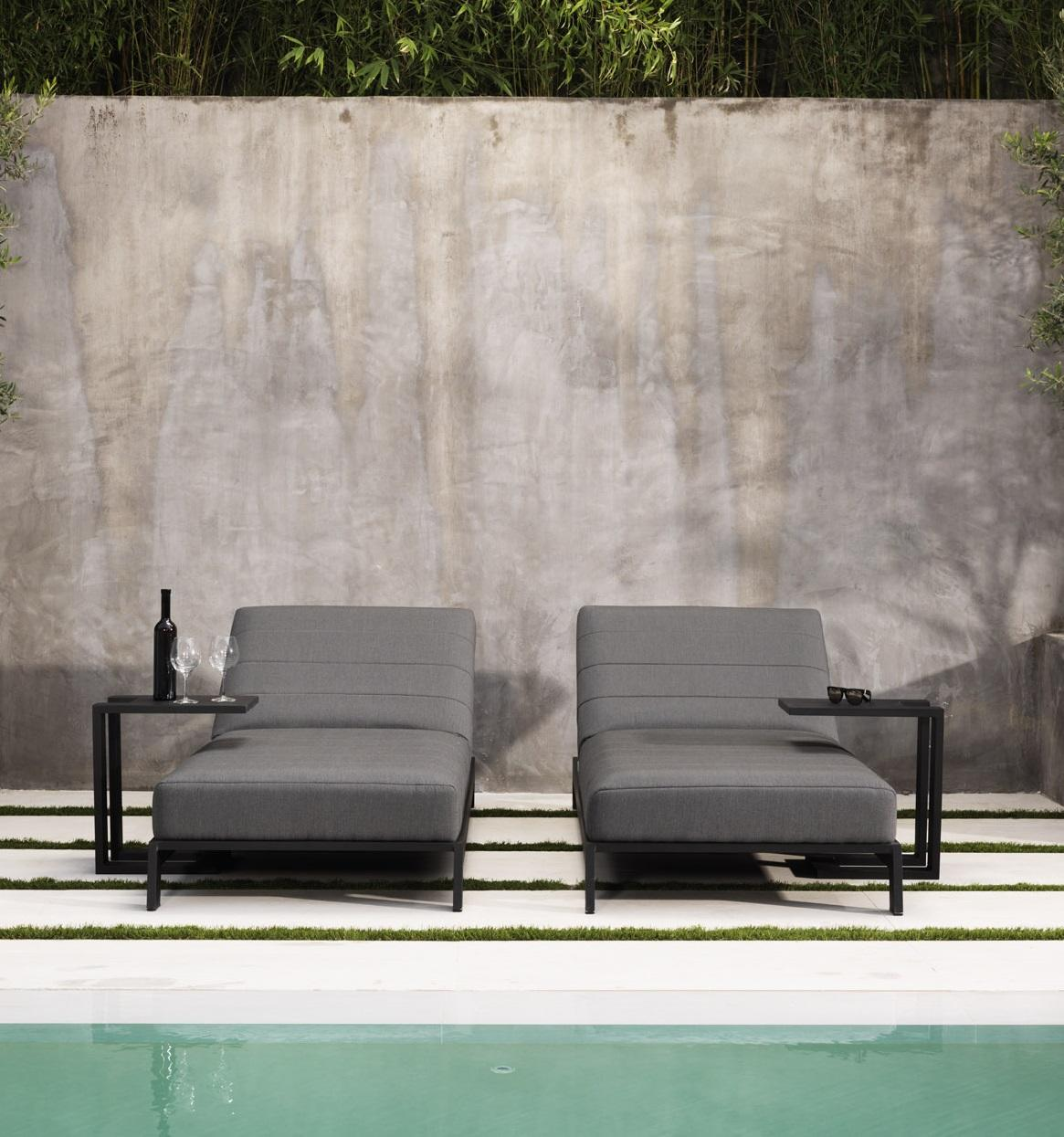 grey sun loungers for garden outdoor use in weatherproof quilted fabric