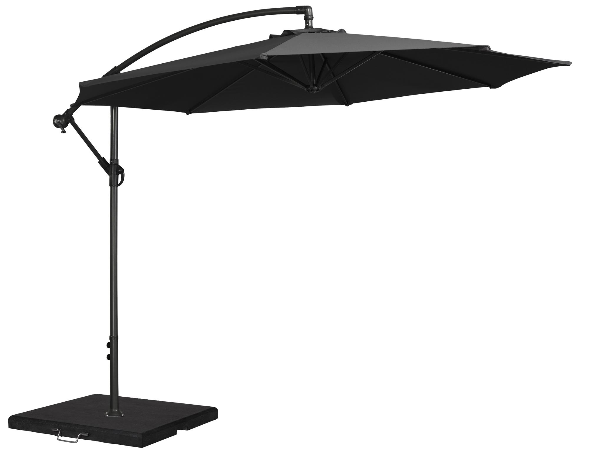 cantiliver parasol for the garden in charcoal
