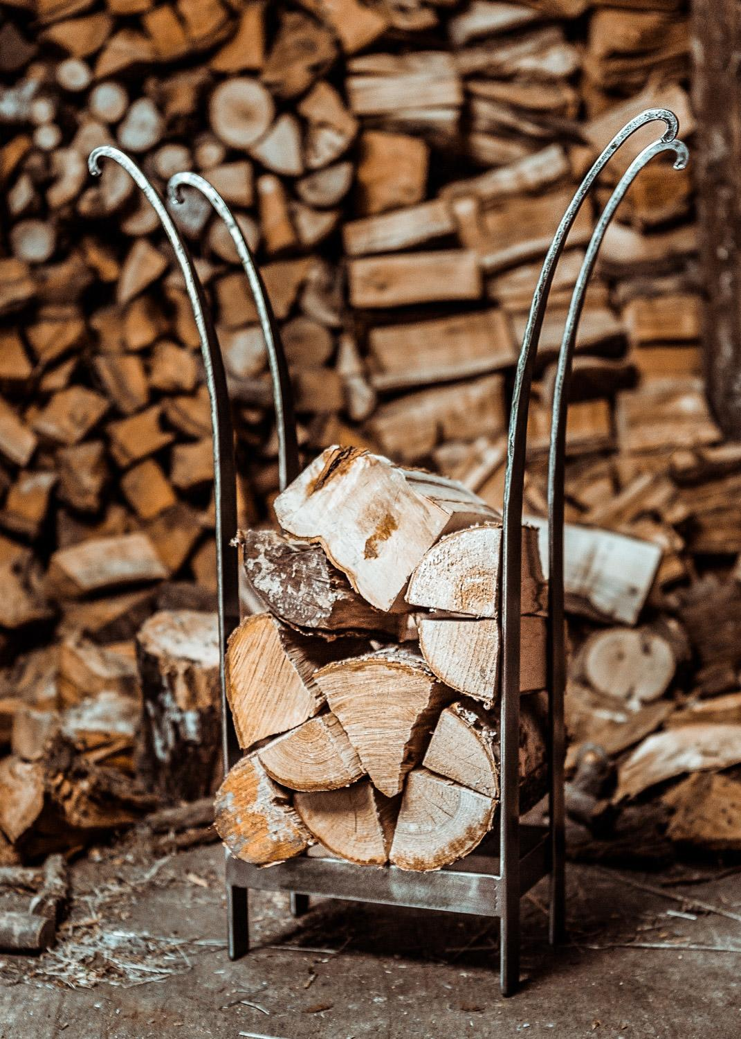 flared log stack steel log basket