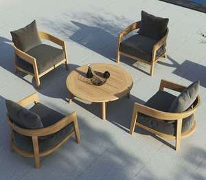 4 teak garden armchairs for outdoor use around a coffee teak table