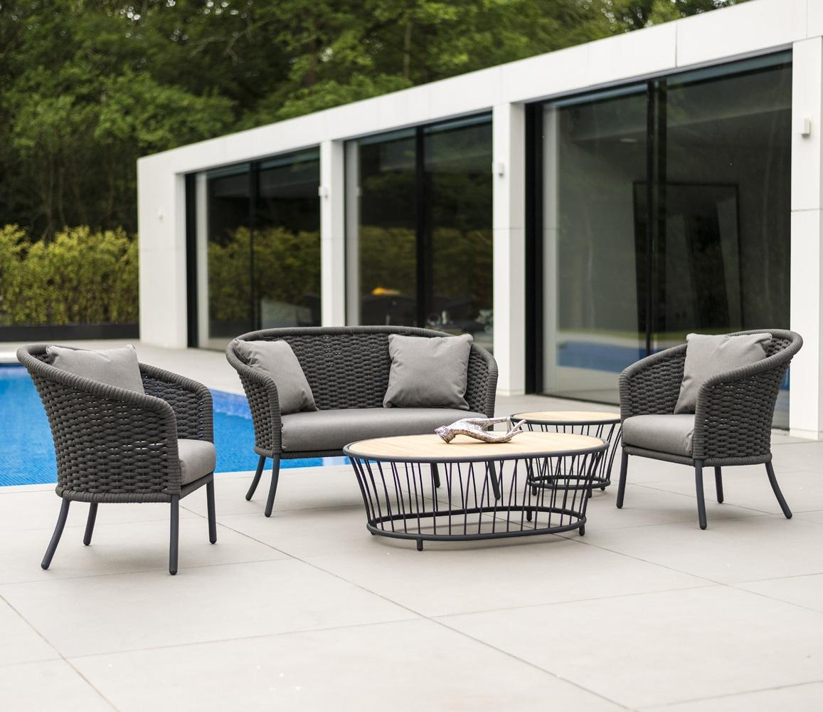 grey modern rope garden lounge sofa with armchairs and coffee table