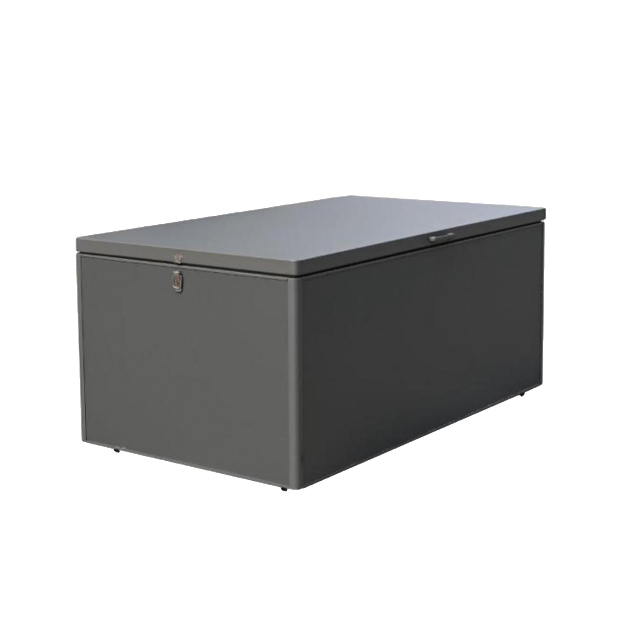aluminium metal garden storage box for cushions closed