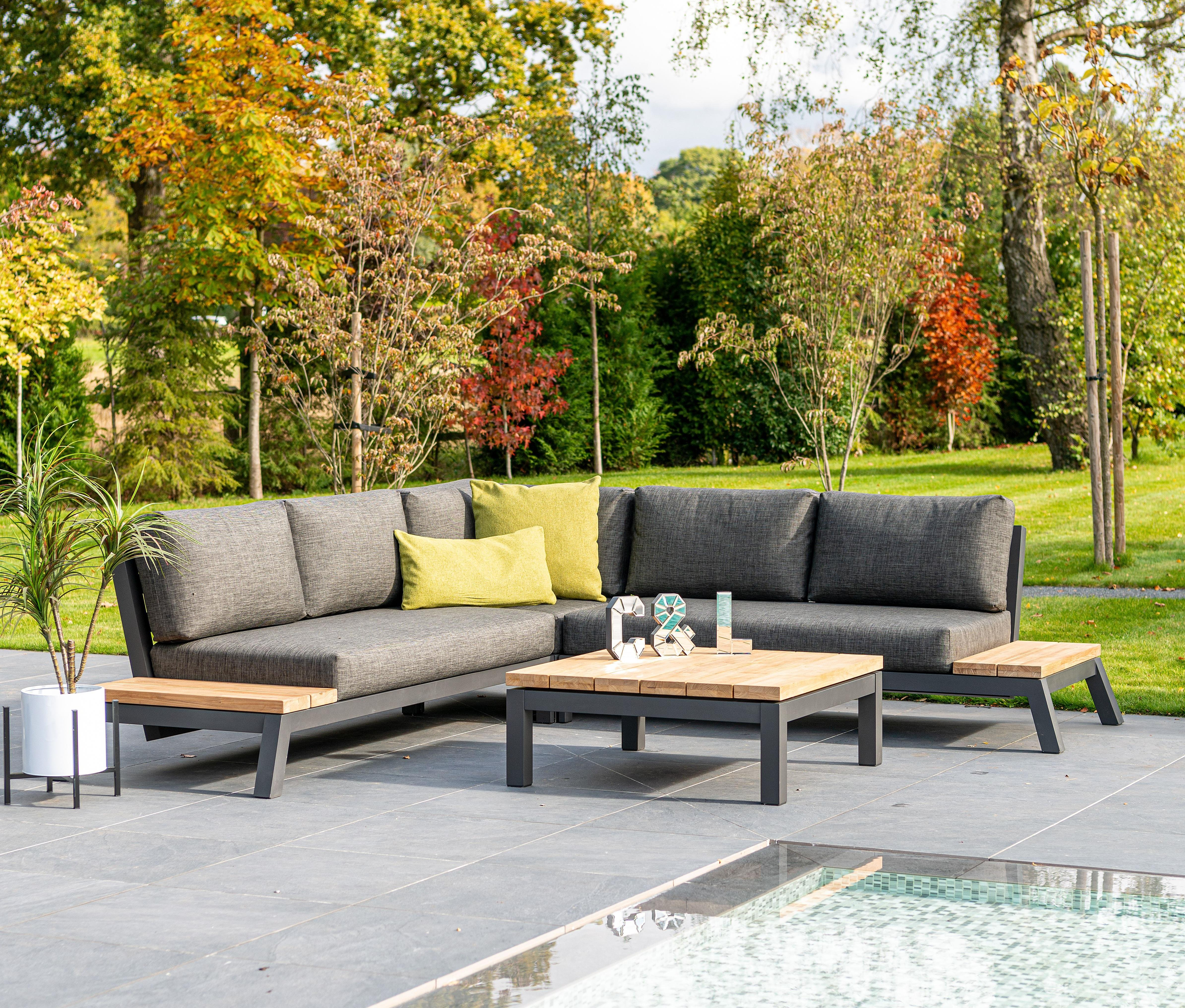 smaller corner garden lounge furniture set L shape with weatherproof cushions in grey