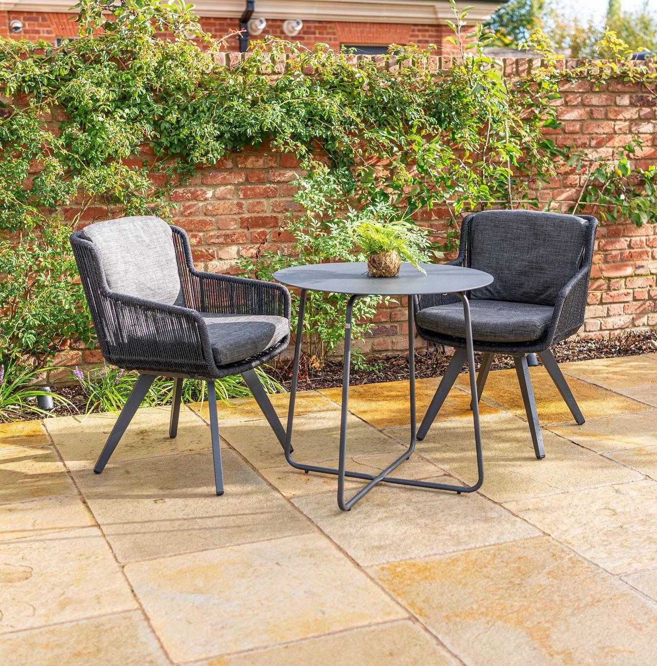garden dining bistro linear rope weave all weather chairs