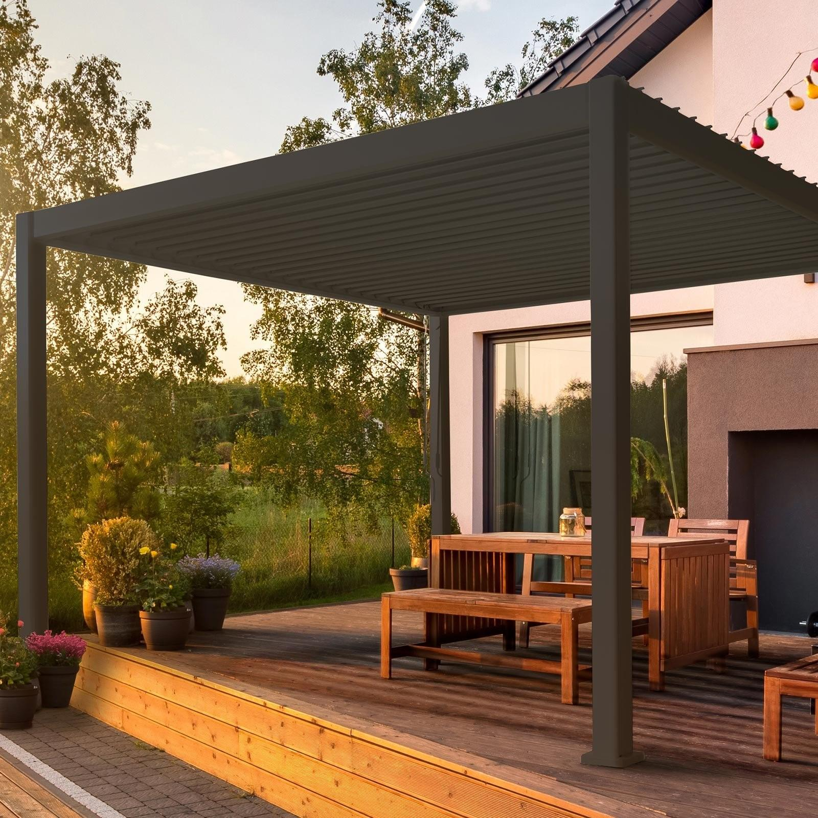 3 x 4 m modern garden gazebo or pergola in grey aluminium with slatted roof
