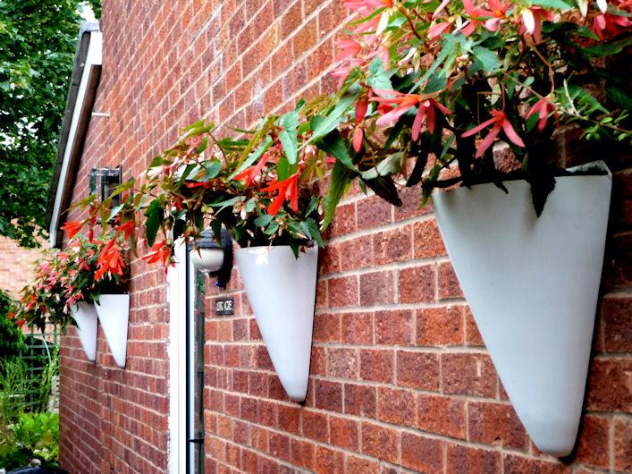 wall_mounted_half_conical_fibreglass_garden_planter_bespoke_uk_made_kent_uk