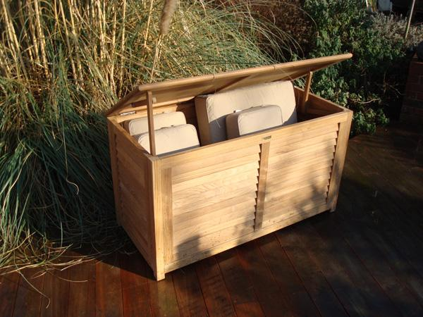 teak garden cushion storage box for outdoor use