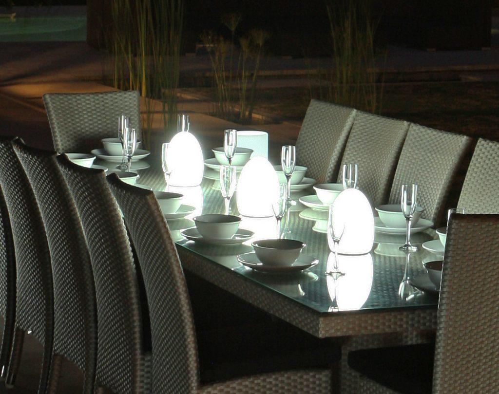fibreglass garden light on outdoor dining table weatherproof and waterproof