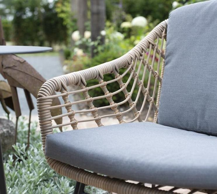 rope weave open garden dining chair detail