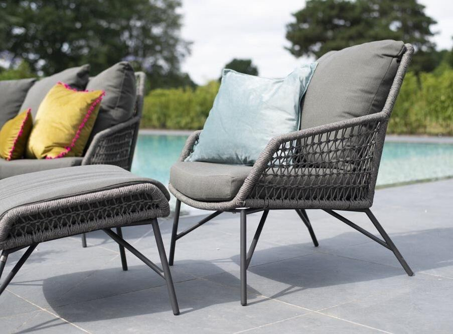 modern rope garden lounge armchair and footstool grey