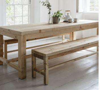 Indoor Contempory Pine Table and Bench Set Chunky Farmhouse Style