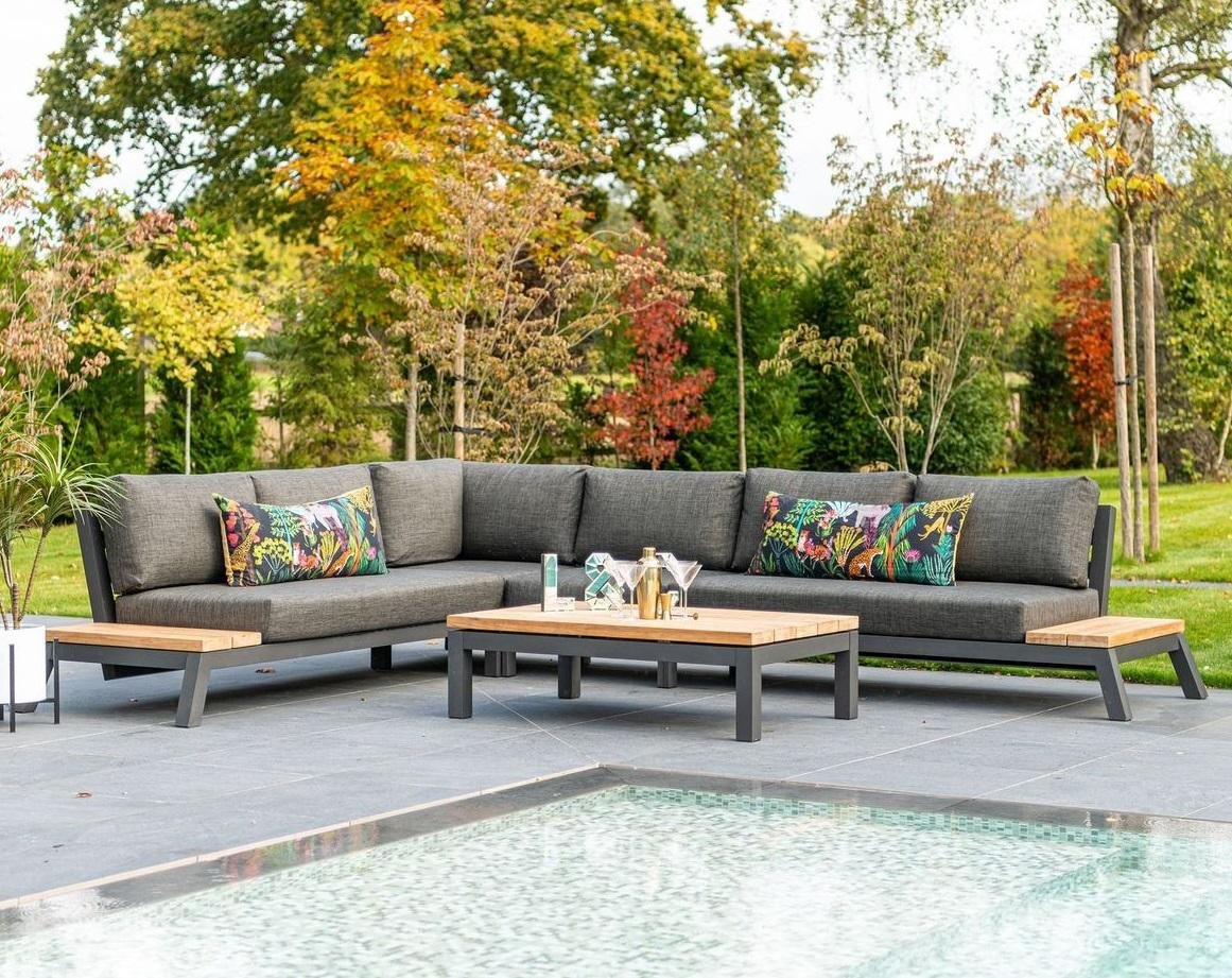 aluminium garden lounge corner L shape sofa set with all weather grey cushions by pool