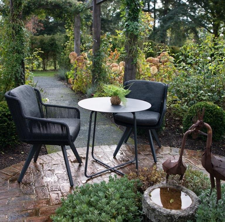 modern linear rope all weather garden dining chairs and bistro table