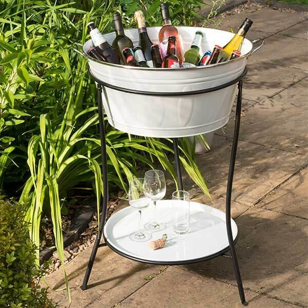drinks_cooler_garden_outdoor_party_white_shelf_stand