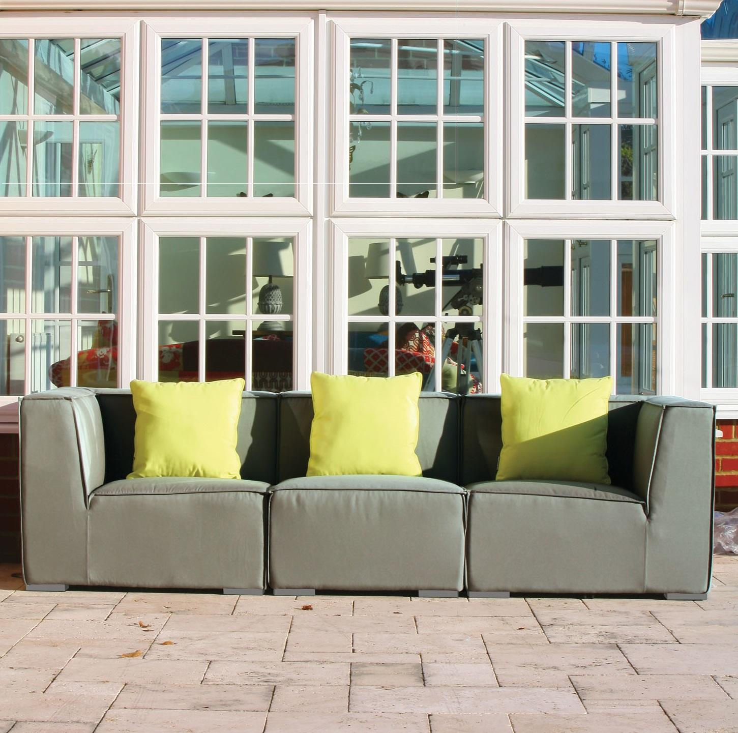 garden sofa modular in taupe weatherproof fabric 3 pieces
